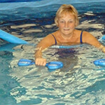 Patient in the hydrotheray pool