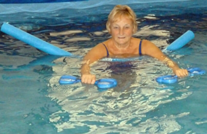 Patient in the hydrotherapy pool